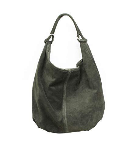 Oktradi® Damen Shopper Schultertasche Handtasche Ledertasche Laptoptasche Beutel 45 x 36 x 10 cm Made in Italy (Grün) (Laptop-tasche Von Gucci)