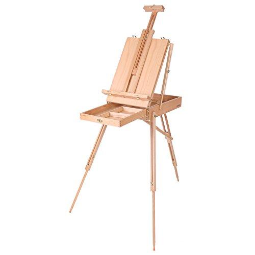 Zerone Chevalet Peinture, Boîte de Chevalette Pliante Trépied Téléscopique Multifonctions pour Dessin Peinture Affiche Mallette Chevalette (Grand)
