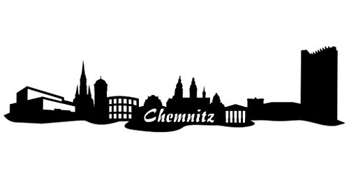 Samunshi® Wandsticker Chemnitz Skyline schwarz 30x7,4cm