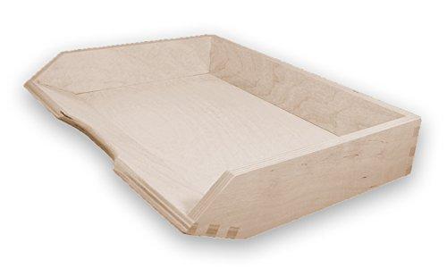 Ablagekorb, Briefablage, Briefkorb A4 quer, Holz, Kiefer unbehandelt, stapelbar