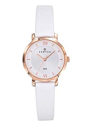 Certus–Reloj Mujer–h646m247–Cuero Blanco–Caja Acero Dorado Rosa–Reloj Color Blanco