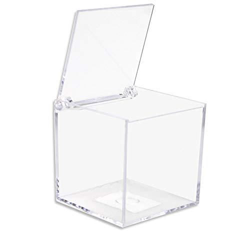 Vetrineinrete® scatoline portaconfetti 36 pezzi quadrati per matrimonio comunione scatole per confetti bomboniere segnaposto in plexiglass trasparenti da decorare decoupage (8 x 8 cm)