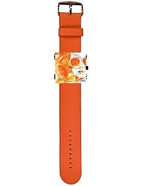 S.T.A.M.P.S. Stamps Uhr KOMPLETT - Zifferblatt Lady Orange mit Lederarmband classic orange