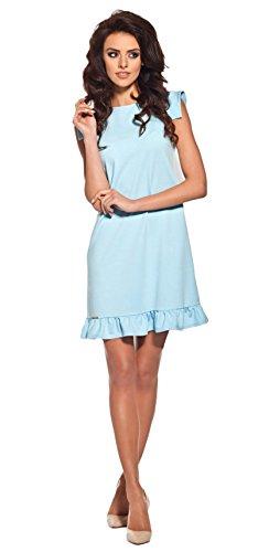 Lemoniade extravagantes Kleid mit ausgefallenen, kurzen Ärmeln und Rüschen-Saum, hellblau, Gr. M