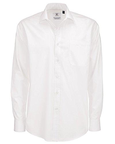 B&C Smart Poplin Herren Hemd, Langarm (M) (Weiß) (Hemden Smart Casual)