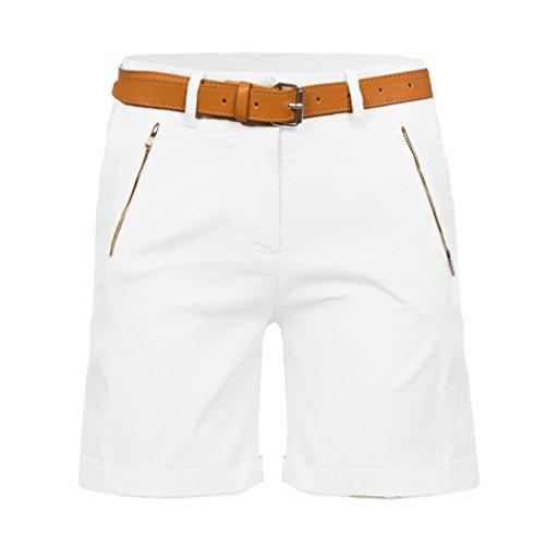 Kendindza Damen Shorts kurze Chino Hose mit Gürtel Weiß