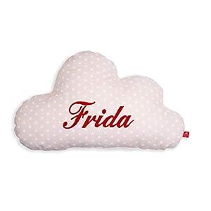 Kissen mit Name Wolke beige: selbst gestalten: personalisieren (Baby Deko Schlafzimmer Kleinkind Kinder Jugendliche Mädchen)