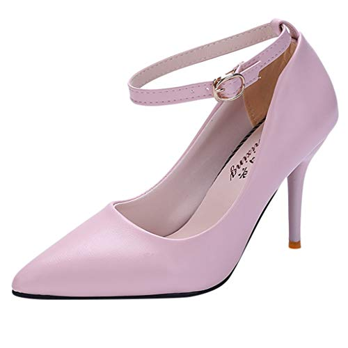 Women High Heel Pointed Shoes Spring Summer Sandals Party Wedding Shoes Elegant Leather 9.5cm Platform Stiletto Heel Footwear Roman Shoes with Buckle Gusspower