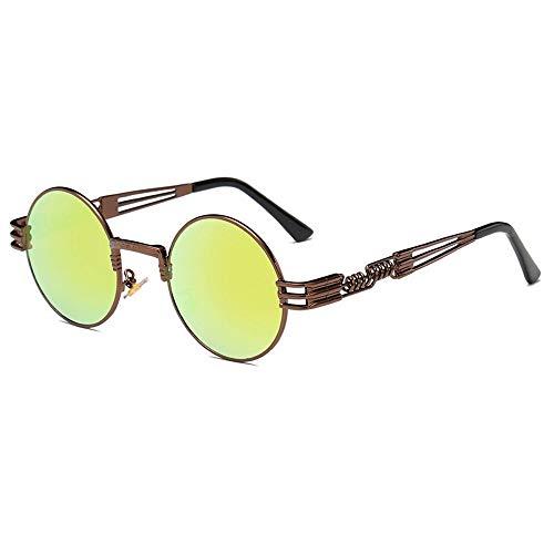 Preisvergleich Produktbild QZHE Sonnenbrillen Sonnenbrille Männer Runde Sonnenglas Beschichtung Gläser Metall
