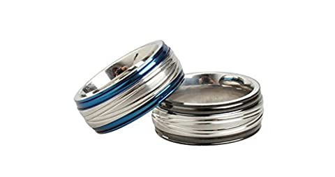 SanJiu Jewelry Stainless Steel Men's Ring Biker Punk Rcoker Classic Stripe Ring Gothic Ring for Men Black Size N 1/2