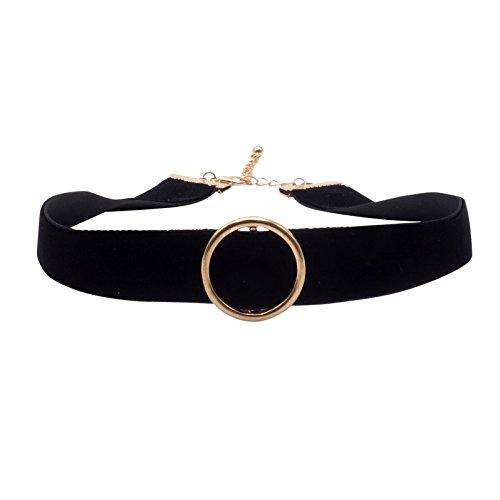 BENAVA Damen Choker Kette Verstellbar - Halsband Breit mit Ring Anhänger Schwarz Gold 30-35 cm