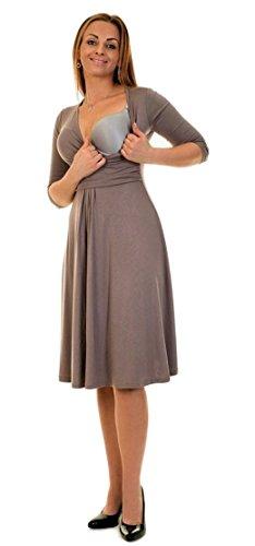 Divita 3in1 Stillkleid Umstandskleid Umstandsmode Kleid D25 (40/L, Cappuccino) - 2