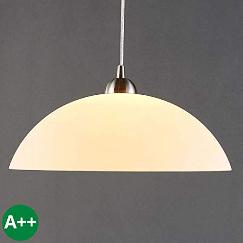 Lampenwelt Pendelleuchte \'Valeria\' dimmbar (Modern) in Weiß aus Glas u.a. für Küche (1 flammig, E27, A++) - Hängelampe, Esstischlampe, Hängeleuchte, Küchenleuchte