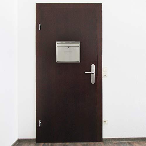 Rottner Briefkasten Teramo Edelstahl, mit Einwurfmöglichkeit von vorne und hinten, Zylinderschloss mit 2 Schlüssel, Zaunbriefkasten - 6
