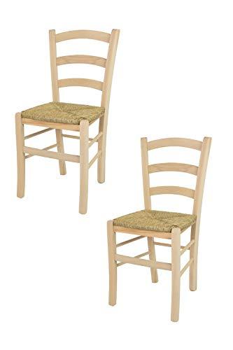 Tommychairs sedie di design - set 2 sedie classiche venice per cucina, bar e sala da pranzo, robusta struttura in legno di faggio levigato, non trattato, totalmente naturale e seduta in paglia
