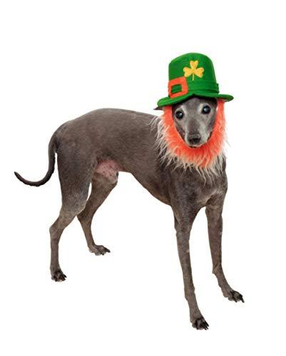 Kostüm Hunde Kobold - Horror-Shop Kobold Hut mit Bart für Hunde als St. Patrick's Day Hundekostüm S/M