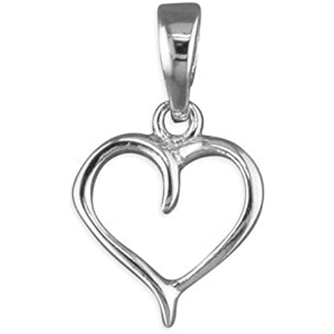 Ciondolo piccolo in argento Sterling a forma di cuore, 16 cm, 18