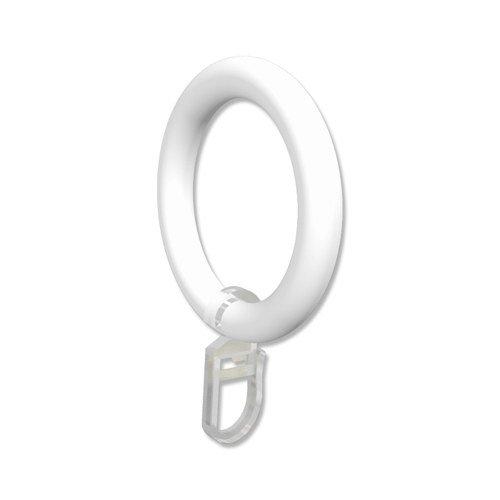 Interdeco Gardinenringe mit Faltenhaken / Kunststoff-Ringe in Weiß für Gardinenstangen 28 mm Ø (24 Stück)