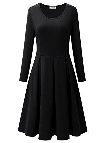 Groß Kleid Stiefel (BULOTUS Damen Langarm Jerseykleid Skaterkleid A-Line Festliches Kleid Partykleider Cocktailkleider (Schwarz, XL))