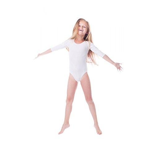 Ballettanzug Mädchen Gymnastikanzug 3/4 Arm Ballett Trikot Tanz Gymnastik Turnanzug, Farbe: Weiß, Größe: 116