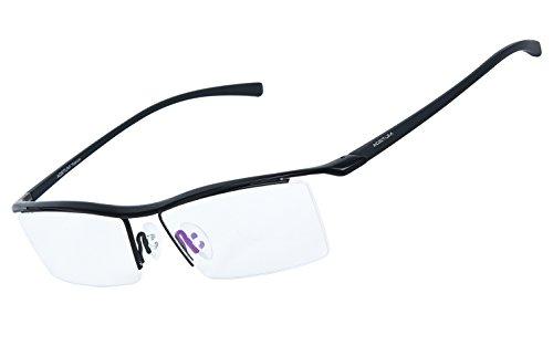 Schwarze Randlose Brillen (Agstum Herren Titan Brillengestell Semi-randlos Brillen Business-optische Gläser Rahmen (Schwarz))