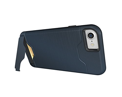 Cover iPhone 7, Riffue [VIVA] Flessibile TPU e Dura del PC Dual Layer Slot Card Protection Custodia Case per iPhone 7 - Nero Blu