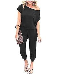 c23e045119b786 Caracilia Jumpsuits Damen Sommer Rundhals Eine Schulter Kurzarm Strampler  Elastischer Taillen-Overall mit Taschen und