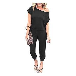 Caracilia Jumpsuits Damen Sommer Rundhals Eine Schulter Kurzarm Strampler Elastischer Taillen-Overall mit Taschen und Gürtel