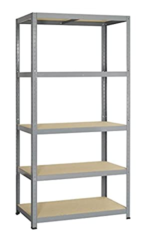 Strong - 265 shelves in metal/wood for heavy loads clipable 5 shelves 180 x 90 x 45 cm grey