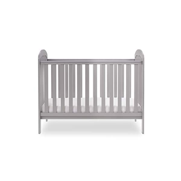 Obaby Lily Cot and Moisture Management Mattress - Warm Grey Obaby Suitable from birth to 18 months approximately Three position mattress height with protective teething rails Internal measurements of 120 x 60cm 7