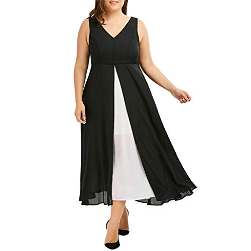 (VEMOW Plus Size Elegante Damen Frauen Casual Kurzarm Kalt Schulter Boho Blumendruck Casual Täglichen Party Strand Langes Kleid Schulterfrei Strandkleid(Y2-Schwarz, EU-48/CN-2XL))