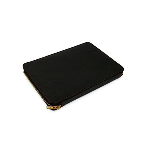 A.P. Donovan - Leder Notebooktasche für verschiedene Modelle - Schutz vor Stößen und Kratzern - Sleeve, Case, Mappe, Hülle mit Reißverschluß - Schwarz, 180mm x 359mm x 247mm + MACKBOO PRO 15