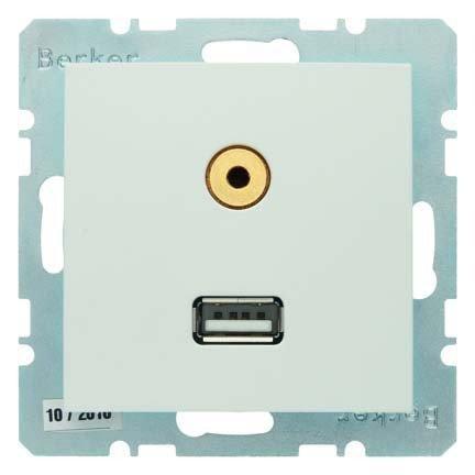 Berker Steckdose USB/3,5mm Audio 3315391909 polarweiß matt B.1;B.3;B.7;S.1 Einsatz/Abdeckung für Kommunikationstechnik 4011334330141