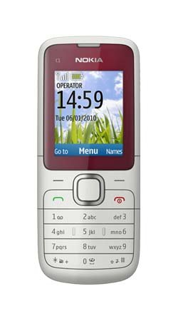 Nokia C1-01 Red / Grey Touchscreen Mobile Phone on Vodafone PAYG