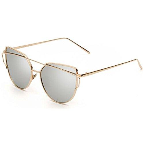 NoyoKere Frauen Männer Cat Eye Sonnenbrille Luxus Spiegel Flach Rose Gold Vintage Shadow Sonnenbrille Brillen Weiß