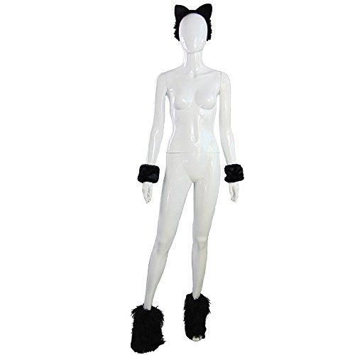 Partybob Katzenkostüm - schwarzes Katzen-Kostüm-Set für Fasching (Einfache Schwarze Katze Kostüm)