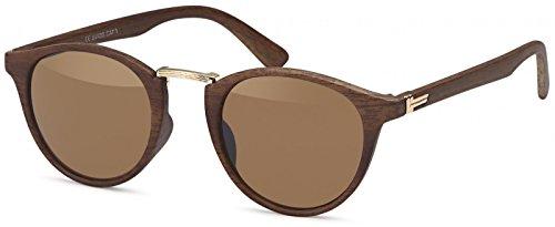 styleBREAKER Sonnenbrille in Holz Optik und runden Gläsern, Kunststoff-Metall-Gestell, Unisex...
