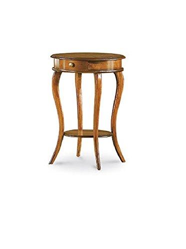 Table d'appoint Rond avec tiroir, Style Classique, en Bois Massif et MDF avec Finition Noyer Brillant - Dim. 50 x 50 x 74