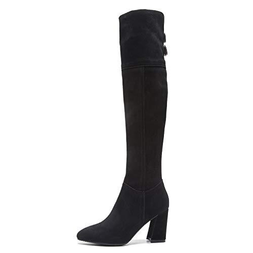 EleBoot Frauen Stiefel Reißverschluss Militär Winter Schnee Plattform Lässige Knie Lange High Heels Kleid Party/Büro, Black, 37