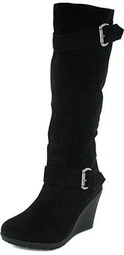 Damen/Damen Schwarz Langes Bein Stiefel Mit 8.5Cm Keilabsatz - Schwarz - UK GRÖßEN 3-9 - Schwarz, EU 37 (Lange Stiefel)