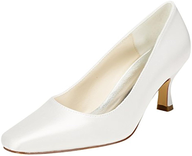 Emily Bridal Chaussures de Mariée en Ivoire Chaton Talon Talon Talon Pompes à Talons Carrés Chaussures de Mariage à EnfilerB07C3P9TKRParent 5bb8cf