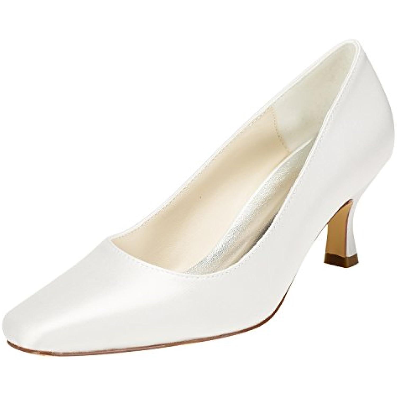 Emily Bridal Chaussures de Mariée en Ivoire Chaton de Talon Pompes à Talons Carrés Chaussures de Chaton Mariage à Enfiler - B07C3P9TKR - 870955