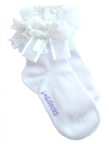 BabyGirl-Pack-of-2-WHITE-Super-Soft-Lace-Frilly-Ankle-Socks-Age-1-2-3-4-5-6-7