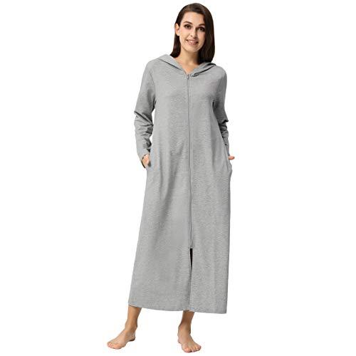 Zexxxy Saunamantel Lang Kapuze Damen Hausmantel Frauen mit Reißverschluss Robe Leich Grau S