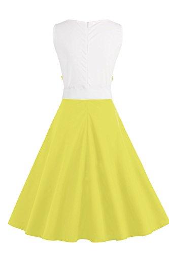 Babyonline® Damen Retro Abendkleider Ärmellos Vintage 1950er Jahre Swing Pinup Frühling Kleider Faltenrock Gelb