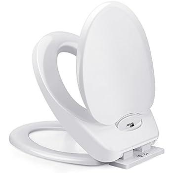 Amzdeal Abattant WC avec Fermeture à amortisseur pour Enfants et Adultes, Siège de toilette idéal pour Familles avec Petits enfants