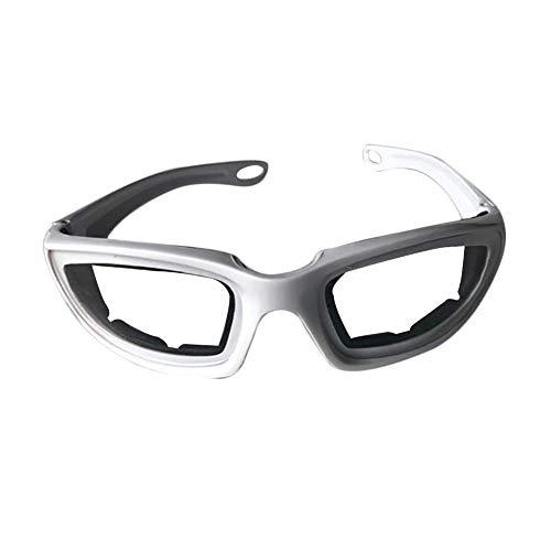 Edwiin Zwiebel Schutzbrille Tränenfreies Schneiden von Augen schützende Brille, Küche Zubehör Schutzbrille Protector für Zwiebel schneiden (Weiß und Grau) 14.2 * 4.2 * 12.2cm -