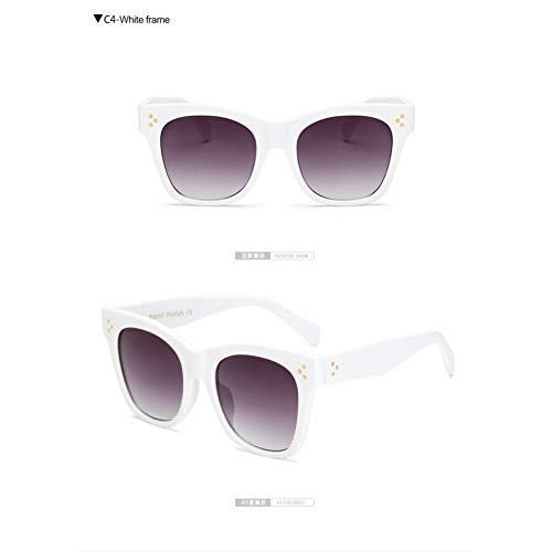 Taiyangcheng Mode Sonnenbrillen Frauen Sonnenbrillen Sommer Stil Sonnenbrille Weibliche Niet Shades,weißer Rahmen