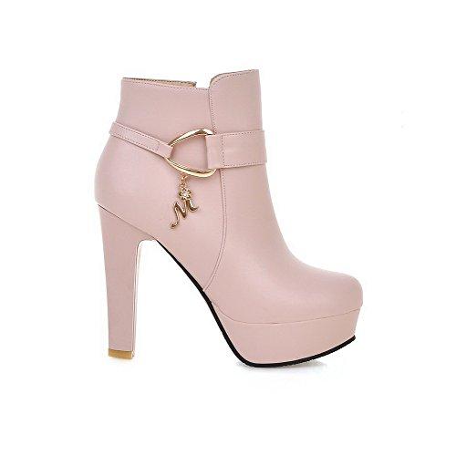 AllhqFashion Damen Pu Leder Hoher Absatz Reißverschluss Stiefel Pink