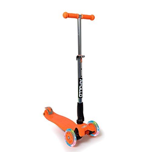 Fun-Scooter - Kids Go LED - für Kinder ab 2, faltbarer Kick-Scooter, Kinderroller bis 60kg belastbar mit verstellbarer Lenkstange und blinkenden LED Flüsterräder, von Apollo - Farbe: orange